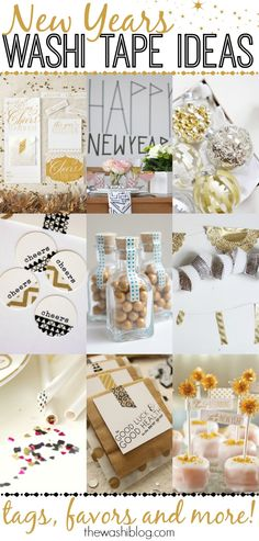 New Years Washi Tape Ideas - perfect last-minute crafts and decor! Maybe for my rockin' NYE Party. Tape Crafts, Fun Crafts, Diy And Crafts, Summer Crafts, New Years Eve Day, New Years Party, Tapas, New Year's Eve Celebrations, New Year Celebration