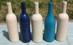Bildresultat för how to fabric decoupage wine bottle