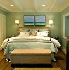 Two Beach Paintings above Bed and other Ideas for Above Bed Beach Decor here: http://beachblissliving.com/above-bed-decor-shelf-ideas-art-more/