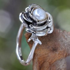 Sterling Silver 'New Rose' White Freshwater Pearl Ring (6 mm) (Bali)