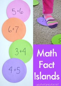 Throw out the flashcards and add a little movement to your math facts practice with Match Fact Islands. A fun gross motor math game for kids.