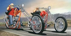 "David Mann's last painting.  The story behind it is Mondo Porras (the ""Godfather of the Chopper"" & my personal friend) built the red bike he is riding in the painting for the 30th Anniversary of Easyriders Magazine (back in 2001) and the Orange Panhead bike that is in the painting is a bike that Mondo and the late great Denver (RIP) built 30years before the shoot back in 1971! Easyriders wanted both bikes to be in the photo shoot, so Mondo restored the Orange Panhead and took both bikes over…"