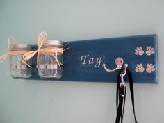 Personalized Dog Leash Holder/Dog Treat Jar/Doggie Bag Holder/ on Etsy, $49.99