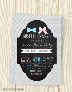 Mister or Miss Gender Reveal Party Invitation by LaurenADesigns Gender Reveal Box, Gender Reveal Themes, Gender Reveal Party Invitations, Baby Gender Reveal Party, Gender Party, Print Your Own Invitations, Personalized Invitations, Gender Announcements, Baby On The Way