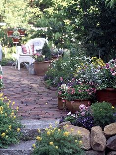 cottage garden pathway and sitting area