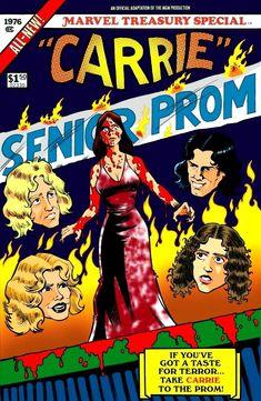Horror Cartoon, Horror Comics, Horror Films, Horror Stories, Carrie Stephen King, Stephen King Novels, Novel Movies, Movie Titles, Carrie Movie