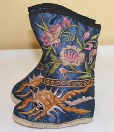 Antique Chinese Silk Embroidery Toddler Children's Boots Shoes Very Cute