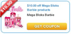 Mega Bloks Barbie Coupon-$10.00 off- high value coupon!!   Print to this $10.00 off Mega Bloks Barbie Coupon and you will make some little girl very happy!!    Click on banner or text to print out this high value -$10.00 off Mega Bloks Barbie coupon!!    Print 2 Mega Bloks Barbie coupons and pass along this awesome Mega Bloks Barbie coupons to a sister or friend!!