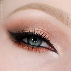 'Foiled #1' look by Dressed-In-Mint using Makeup Geek's Beaches and Cream, Corrupt, Latte, Peach Smoothie, Flame Thrower, Grandstand and In The Spotlight eyeshadows and Foiled eyeshadows! Beautiful look!