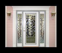 Estate Exterior Wood Front Entry Door... i love the molding around the door