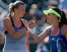 Classy handshake: Petra Kvitova & Aga Radwanska in Indian Wells - March 2016 - via Jimmie48 Photography