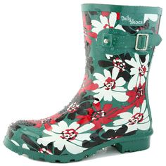 Women's DailyShoes Mid Calf Buckle Ankle High Hunter Rain Round Toe Rainboots