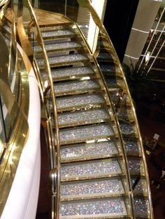 Swarovski stair case on a cruise ship.  You won't miss a step on those stairs!  www.harmanbeads.com