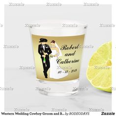 Shop Western Wedding Cowboy Groom and Bride Personalize Shot Glass created by RODEODAYS. Personalize it with photos & text or purchase as is!