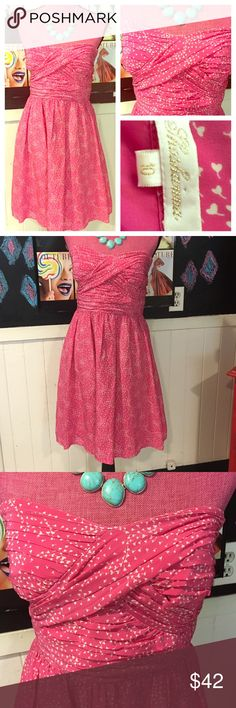 """Ballon❤️s Shoshanna pink strapless dress sz10 In worn once condition Shoshanna size 10 ballon hearts pink strapless dress.   Perfect for that summer event.  Chest is 36"""" waist is 30"""".   Flattering for sure... Shoshanna Dresses"""