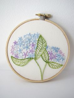 Embroidery Hoop Art - Hydrangea Blooms