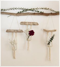 Small #Macrame #Plant Hanger on Driftwood by #fallandFOUND on Etsy