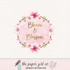 cherry blossom logo wreath logo photography logo by ThePaperGirlCo