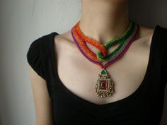 Old World - Gems ... Freeform Beaded Crochet Necklace | by irregular expressions