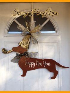 Dachshund Door Hanger, New Year Door Hanger, Happy New Year, Dachshund Gift, New Year Wreath, New Year Party, New Year Decor by SassyHangUps on Etsy https://www.etsy.com/listing/574281049/dachshund-door-hanger-new-year-door