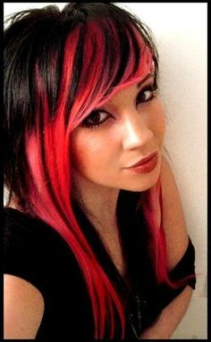 Red and black. I will probably never do this to my hair, but it looks awesome anyway.