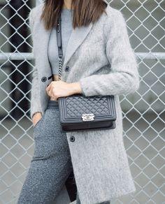Monochromatic Warm Fall Look, Light Grey Sweater, Light Grey Coat, Grey Trousers, Black Chanel Boy Bag