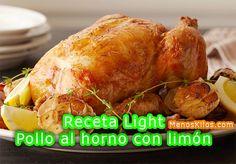 Receta light de pollo al horno con limón ajo y tomillo. Recetas light para adelgazar de pollo al horno al limón con especias sin grasas ni aceites.