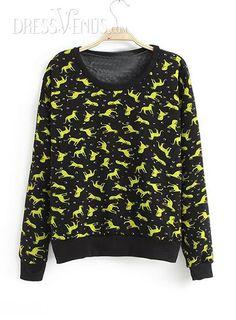 US$19.72 Splendid Round Neckline Animals Print Thicken T-shirt . #T-Shirts #Animals #Print #Thicken