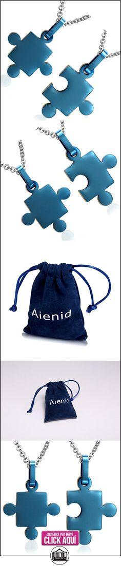 AieniD 1 Par Acero Inoxidable Colgante Collar de Mujer Hombre Collar Ajustado para Parejas Amor Rompecabezas Enlace Azul Joyas de Moda  ✿ Joyas para mujer - Las mejores ofertas ✿ ▬► Ver oferta: https://comprar.io/goto/B015707QAE