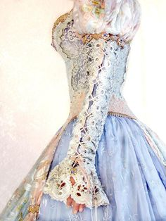 Side view of the Cinderella gown showing the unbelievable sleeves Fashion;formal;wedding;prom;fantasy;fairytale;costume