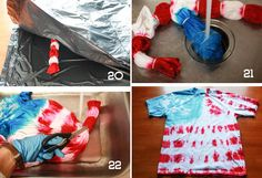 International Day- How to tie dye american flag on shirts