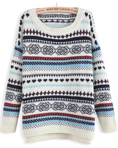 Beige Long Sleeve Striped Loose Knit Sweater