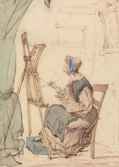 William Henry Brooke, 1772-1860, Portrait of a Girl Sketching, undated, Pen and brown ink, watercolor and gouache on medium, slighlty textured, beige wove paper, Yale Center for British Art, Paul Mellon Collection