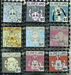 DLR Hotel set 9 Stamp PINs DUMBO Mickey Minnie pin NIP (08/13/2008)