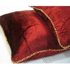 Luxury  Maroon Pillows Cover Solid Color Beaded by TheHomeCentric