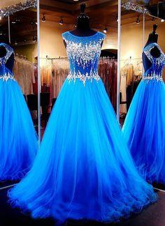A-line Blue Prom Dresses,Beaded Prom Dresses,Long Prom Dresses,Open Back Prom Dresses,Plus Size Prom on Luulla