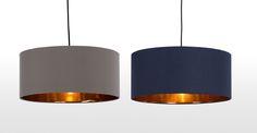 Oro Pendant Drum Lamp Shade, Navy and Copper Lounge Lighting, Living Room Lighting, Bedroom Lighting, Home Lighting, Bedroom Decor, Lighting Shades, Kitchen Lighting, Master Bedroom, Copper Ceiling