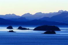 Lake Nahuel Huapi in Patagonia at dawn.