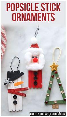 Popsicle Stick Christmas Crafts, Diy Christmas Videos, Christmas Crafts For Kids, Diy Christmas Ornaments, Holiday Crafts, Popsicle Sticks, Christmas Christmas, Christmas Decorations, Homemade Christmas
