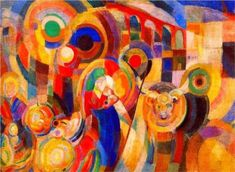 Sonia Delaunay, b. November 14, 1885 (Russian Empire), d. December 5, 1979 (Paris, France),  Oil Paintings, Graphics, Advertising,  Style: Orphism, Title: Market at Minho, oil painting, 1915