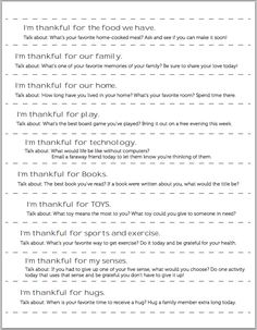 Printable conversation starters to discuss what you're family is grateful for each day in November until Thanksgiving - such an easy way to get into the spirit of the holiday.