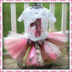Girls Camo Pink Camo Birthday Outfit First Birthday Shirt and Tutu #pinkcamo #firstbirthday #krosekreations  Facebook.com/krosekreations