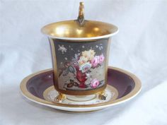 FINE EARLY 19TH C PARIS PORCELAIN FLORAL AND GILT LARGE CABINET CUP AND SAUCER