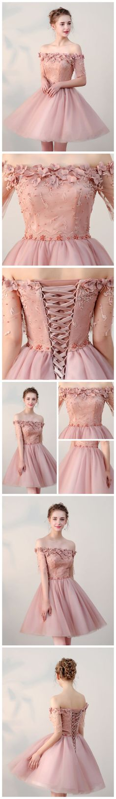 Elegant Prom Dresses, Chic A-Line Off-the-shoulder Sleeveless Short pink Homecoming Dress With Appliques Shop for La Femme prom dresses. Elegant long designer gowns, sexy cocktail dresses, short semi-formal dresses, and party dresses. Grad Dresses, Cheap Prom Dresses, Homecoming Dresses, Evening Dresses, Short Dresses, Formal Dresses, Quinceanera Dresses, Formal Prom, Dress Long