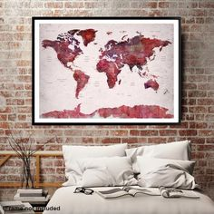 98920 - World Map Wall Art , World Map Push Pin Travel, Push Pin World Map, World Travel Map, Push Pin Map Canvas, Travel Map Canvas, Travel Map Art