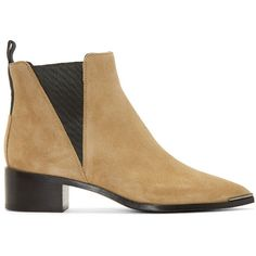 Acne Studios Beige Suede Jensen Ankle Boots ($335) ❤ liked on Polyvore