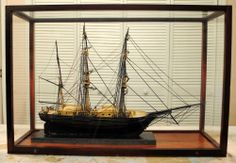 Terrific Authentic Vintage Whaling Bark Model Ship In Glass Display Case