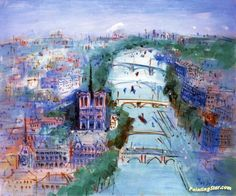 Paris, The Seine by Notre Dame Artwork by Jean Dufy Hand-painted and Art Prints on canvas for sale,you can custom the size and frame