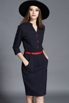 Dark Blue Plaid V Neck Bodycon Casual Dress @ Casual Dresses,Women Casua. 2019 - and white summer dress casual blue casual dress summer blue summer dress casual casual blue dress - blue dress casual - Summer Blue Dresses 2019 Dresses Short, Casual Summer Dresses, Trendy Dresses, Cute Dresses, Beautiful Dresses, Fashion Dresses, Dress Summer, Summer Outfits, Blue Dress Casual