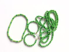 green spring jewelry  necklace earring by JeriAielloartstore
